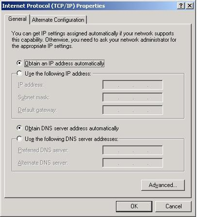 XP TCP/IP Settings on CM Connection